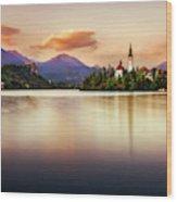 Sunset On Lake Bled Wood Print