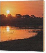 Sunset On The Chobe River Wood Print