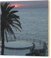 Sunset Over A Balcony Wood Print