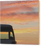Sunset With The Van Wood Print