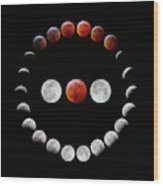 Super Blood Wolf Moon Eclipse Wood Print