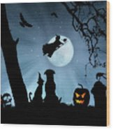Super Cute Halloween Night With Dog And Cat Wood Print