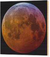 Super Wolf Blood Moon Lunar Eclipse Of 2019 Wood Print