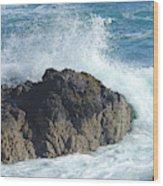 Surf On Rocks Wood Print
