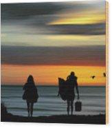Surfer Girls Silhouette Wood Print