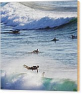 Surfing At Southern End Of Bondi Beach Wood Print