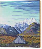 Susitna River Camp Wood Print