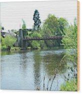 suspension bridge on river Teviot near Heiton Wood Print