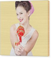 Sweet Lolly Shop Lady Offering Over Red Lollipop Wood Print