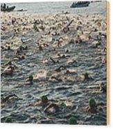Swim Start Of Triathlon In Kailua Bay Wood Print