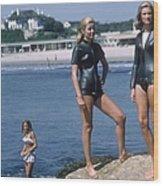Swimmers At Newport Wood Print