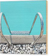 Swimming Pool With White Pebbles Wood Print