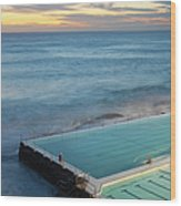 Swimming Pools At Bondi Beach, Before Wood Print