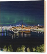 Swirly Aurora Over Stockholm And Gamla Stan Wood Print