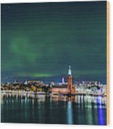 Swirly Aurora Over The Stockholm City Hall And Kungsholmen Wood Print