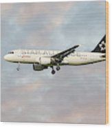 Swiss Star Alliance Livery Airbus A320-214 Wood Print