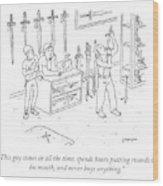 Sword Swallowing Shopper Wood Print