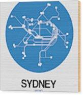 Sydney Blue Subway Map Wood Print