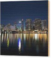 Sydney Darling Harbour Twilight Wood Print