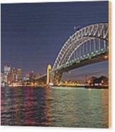 Sydney Harbor Bridge At Night, Sydney Wood Print
