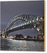 Sydney Harbor Bridge Night View Wood Print