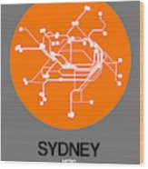 Sydney Orange Subway Map Wood Print