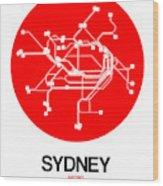 Sydney Red Subway Map Wood Print