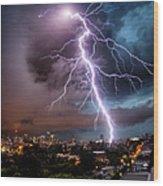 Sydney Summer Lightning Strike Wood Print