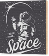 T-shirt Design Print. Space Theme Wood Print