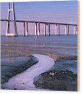 Tagus River And Vasco Da Gama Bridge Wood Print
