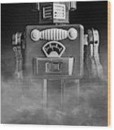 Take Me To Your Leader Vintage Tin Toy Robot Black And White Wood Print