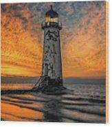 Talacre Beach Lighthouse Sunset Wood Print