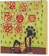Tarot Of The Younger Self Eight Of Pentacles Wood Print