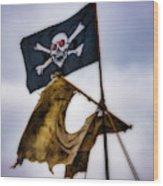 Tattered Sail And Pirate Flag Wood Print