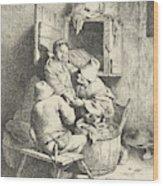 Tavern Man Caressing A Woman Wood Print