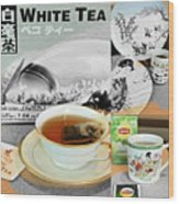 Tea Collage With Brush  Wood Print
