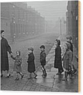 Teacher And Pupils In Manchester Wood Print