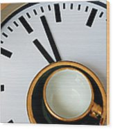 Teacup On A Clock Wood Print