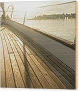 Teak Deck Of 62 Ft Sailboat Wood Print