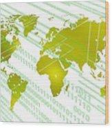 Tech Worldmap With Binary Code Wood Print