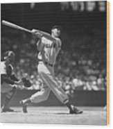 Ted Williams Making A Hit Wood Print
