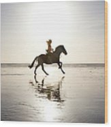 Teenage Girl Riding Horse On Beach Wood Print