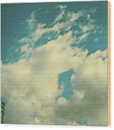 Telephone Lines Against Cloudy Blue Sky Wood Print