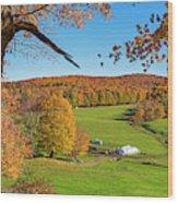 Tending To The Farm Woodstock Vermont Vt Vibrant Autumn Foliage Yellow And Orange Wood Print