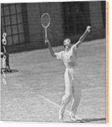 Tennis Player Don Budge Serving Tennis Wood Print