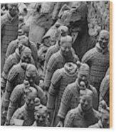 Terra Cotta Warriors In Black And White, Xian, China Wood Print