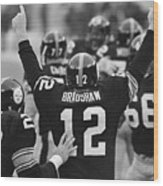 Terry Bradshaw With Arms Raised Wood Print