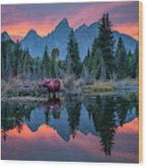 Teton Moose Wood Print