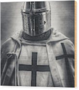 Teutonic Knight Black And White Wood Print