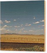 Texan Desert Landscape And Rail Tracks Wood Print
